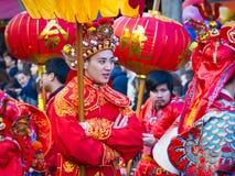 De Chinese nieuwe parade van jaarvieringen in Parijs royalty-vrije stock foto's