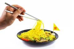 De Chinese noedel beweegt met groente, tofu, paddestoel Vegetarisch F Royalty-vrije Stock Afbeeldingen