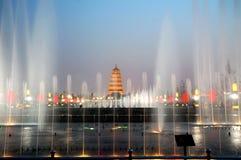 De Chinese pagode van Xian bij nacht Royalty-vrije Stock Fotografie