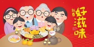 De Chinese plaat van de Nieuwjaarsnack omvat noten, suikergoed en koekjes Vertaling: Chinese Nieuwjaar heerlijke snack stock illustratie