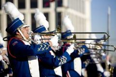 De Chinese Spelers van de Trombone van de Parade van het Nieuwjaar Stock Foto's