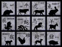 De Chinese symbolen van de Dierenriem Stock Afbeeldingen