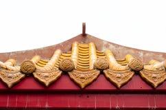 De Chinese tegel van het architectuurdak/geel/geïsoleerd Royalty-vrije Stock Afbeeldingen