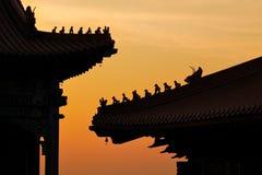 De Chinese tempel van het silhouet Royalty-vrije Stock Afbeeldingen