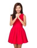 De Chinese Vrouw wenst gelukkig u Stock Foto