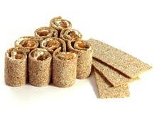 De chips van het brood met vissen en kaas Royalty-vrije Stock Afbeelding