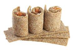 De chips van het brood met vissen en kaas Stock Fotografie