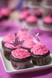 De Chocolade Cupcakes van de prinsessenliefde Stock Afbeelding