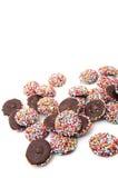 De chocolade met kleurrijk bestrooit Stock Foto
