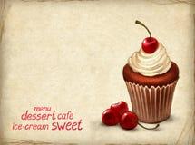 De chocolade van de kers cupcake royalty-vrije illustratie