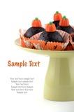 De chocolade van Halloween cupcakes Stock Afbeeldingen