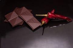 De chocolade van Spaanse peperspaanse pepers stock foto