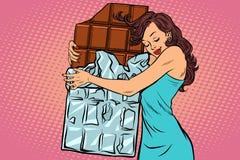 De chocolade van vrouwenomhelzingen, liefdesnoepjes vector illustratie