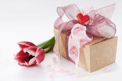 De chocoladedoos van de valentijnskaart Stock Foto's
