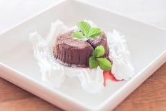 De chocoladelava met whiped room Royalty-vrije Stock Foto