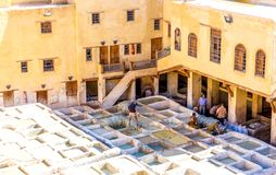De Chouara-Looierij in Fez, Marokko Stock Afbeelding