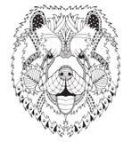 De chow-chowhond zentangle stileerde hoofd, uit de vrije hand potlood, getrokken hand, patroon Zenart. Overladen Vector kleuring Stock Foto's