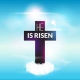 De christelijke viering van Pasen is hij toegenomen dwarshemel vectorachtergrond Stock Afbeelding