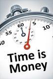 De chronometer met teksttijd is Geld Royalty-vrije Stock Foto's