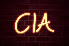 De CIA-neonteken op bakstenen muurachtergrond Fluorescent T.L.-buisteken op metselwerk Bedrijfsconcept voor teruggegeven Afkortin Royalty-vrije Stock Fotografie