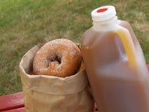 De cider van de appel en donuts Stock Fotografie