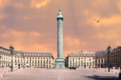Or de ciel sur l'endroit Vendome à Paris Photo libre de droits