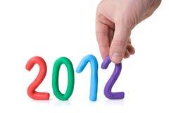 De cijfers 2012 van de hand en van plasticine Stock Foto