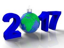 De cijfers in 2017, met het beeld van de grond zoals een stuk speelgoed voor Kerstboom, in de vorm de aarde, op wit Stock Foto