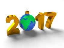 De cijfers in 2017, met het beeld van de grond zoals een stuk speelgoed voor Kerstboom, in de vorm de aarde, op wit Stock Afbeeldingen