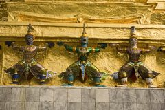 De cijfers van Ramakien, Wat Phra Kaeo, Stock Foto