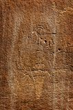 De cijfers van de rotskunst door oude Inheemse Amerikanen worden gecreeerd kunnen in verscheidene plaatsen in het Nationale Park  stock afbeelding