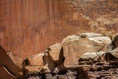 De cijfers van de rotskunst door oude Inheemse Amerikanen worden gecreeerd kunnen in verscheidene plaatsen in het Nationale Park  stock fotografie