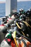 De Cilinders van de scuba-uitrusting stock foto's