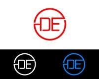 DE circle Shape信件商标设计 库存例证