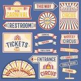 De circusetiketten Carnaval tonen banner uitstekende etiketelementen voor circusontwerp op het partijthema Inzameling van symbole stock illustratie