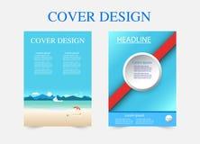 De cirkel van de boekdekking en de meetkunde van de strandontwerpsjabloon Vector illustratie stock fotografie
