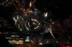 De Cirkel van Columbus van hierboven bij Nacht Royalty-vrije Stock Foto
