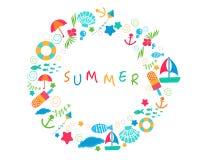 De cirkel van de de zomertijd met kleurrijk de zomerpictogram Royalty-vrije Stock Fotografie