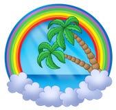 De cirkel van de regenboog met palmen stock illustratie