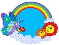 De cirkel van de regenboog met vlinder en bloemen Stock Fotografie