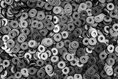 De cirkel van de staalring, metaal glanzende wasmachines Royalty-vrije Stock Fotografie
