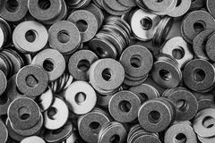 De cirkel van de staalring, metaal glanzende wasmachines Stock Fotografie