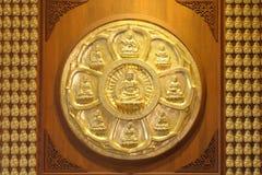 De cirkel van gouden Boedha Stock Foto's