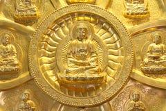 De cirkel van gouden Boedha Stock Fotografie