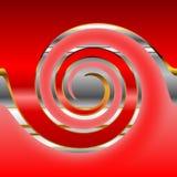 De cirkel van het metaal op rood. Stock Fotografie
