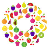 De Cirkel van het verse Fruit die op witte achtergrond wordt geïsoleerd Stock Afbeelding
