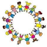 De cirkel van jonge geitjes Stock Foto