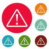 De cirkel vastgestelde vector van waarschuwingsbordpictogrammen Stock Afbeelding