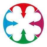 De cirkel is verdeeld in vier sectoren die met pijlen aan het centrum richten stock illustratie