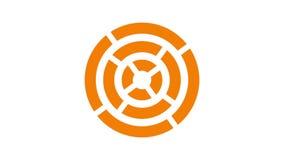 de cirkel, vurige sinaasappel van het ladingsscherm en rood op witte achtergrond - 30fps-lijn - videotextuur, naadloos geanimeerd stock footage